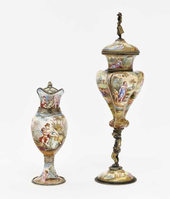 Small lidded goblet and ornamental jug Vienna, 2nd half of the 19th century - photo 2