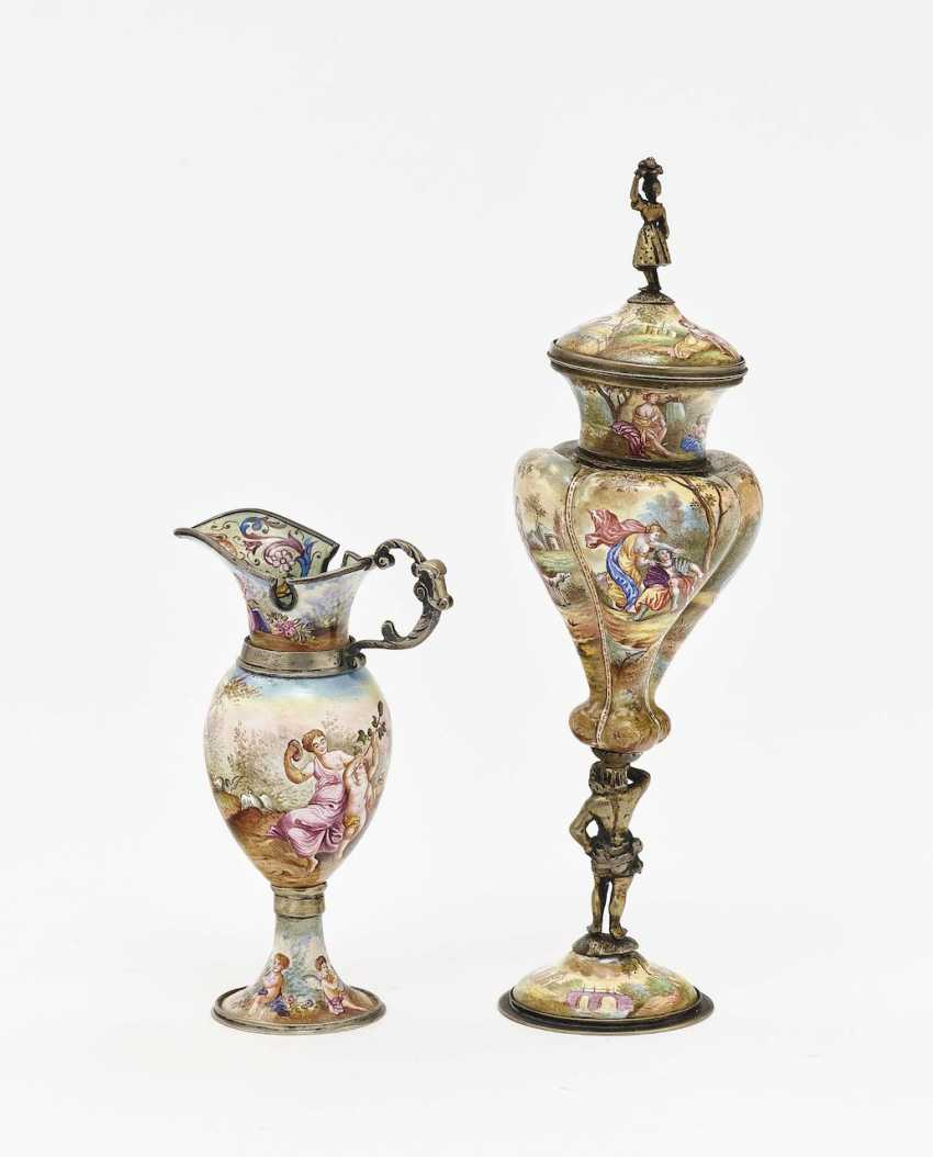 Small lidded goblet and ornamental jug Vienna, 2nd half of the 19th century - photo 3