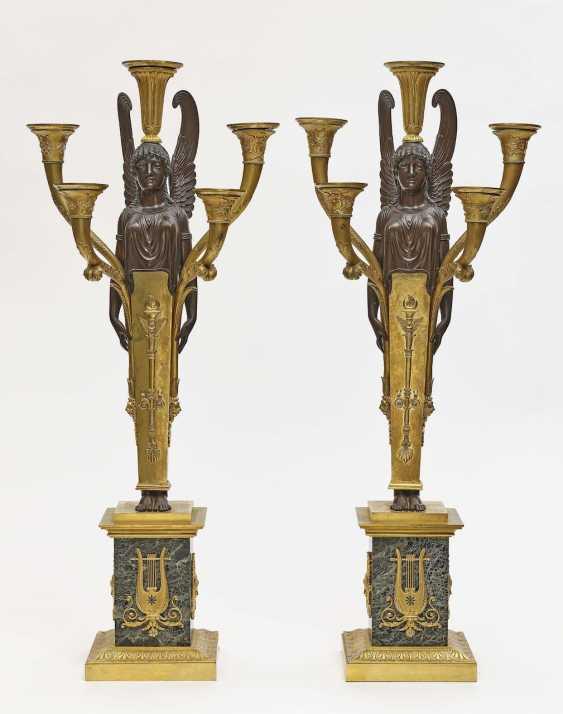 Pair of girandoles, five-flame Empire style - photo 1