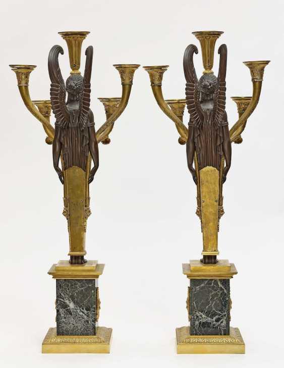 Pair of girandoles, five-flame Empire style - photo 2
