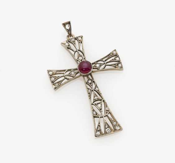 Cross pendant with diamonds and rubies around 1900 - photo 1
