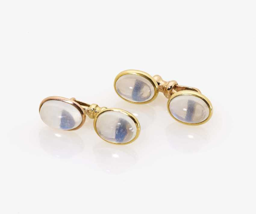 A pair of cufflinks with moonstones Germany, 1980s - photo 1