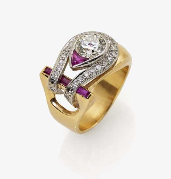 Ring with old European cut diamonds and rubies Germany, 1940s - photo 1