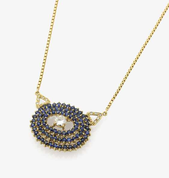 Collier with diamonds and sapphires Italy 1960s - photo 1