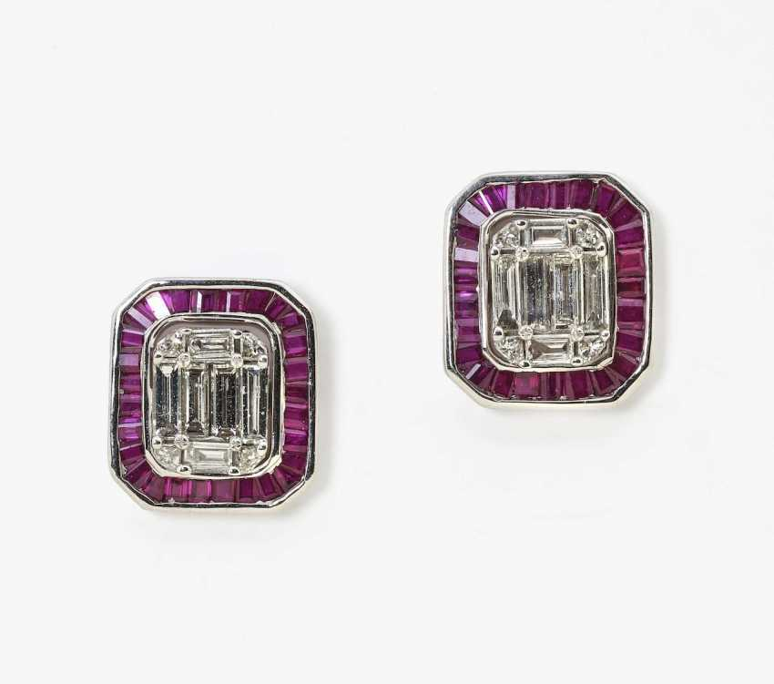 A pair of ear studs with rubies and diamonds - transformable Germany - photo 1