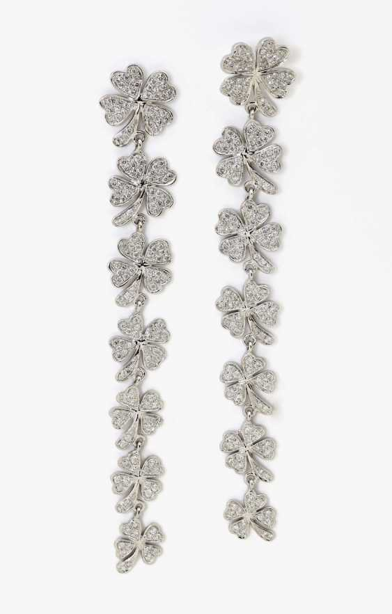 A pair of stud earrings in the four-leaf clover motif with diamonds Germany - photo 1