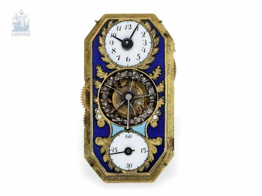 """shape watch: Museum enamel brooch """"tortoise"""" with a built-in clock, visible balance-wheel, and a rich diamond trim, attributed to Piguet et Capt, Geneva, circa 1810 - photo 10"""