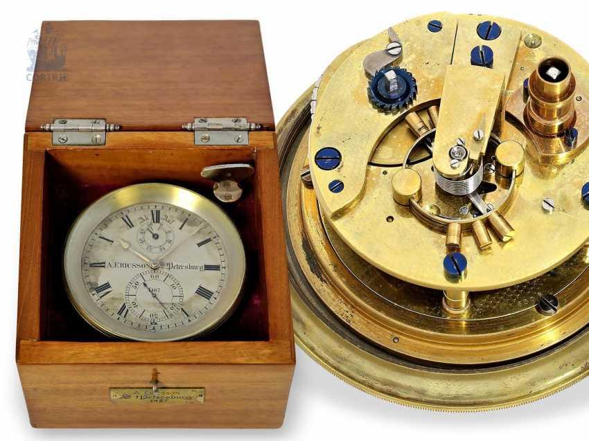 Настольные часы: крайне редкий Стол хронометров, Виктор Kullberg № 8309, хронометров созданный для создателей августа Ericsson Санкт-Петербурга № 1467, 1910. - фото 1