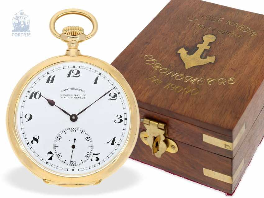 Pocket watch: very fine Ulysse Nardin Pocket chronometer with original numbered box and original certificate, CHRONOMETRE No. 18090, CA. 1920 - photo 1