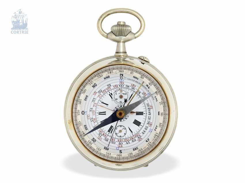 Pocket watch: extremely rare French Marine navigational clock, with a compass, Chronograph and Register, Montre Boussole du Capitaine Vincent No. 5151, around 1900 - photo 1