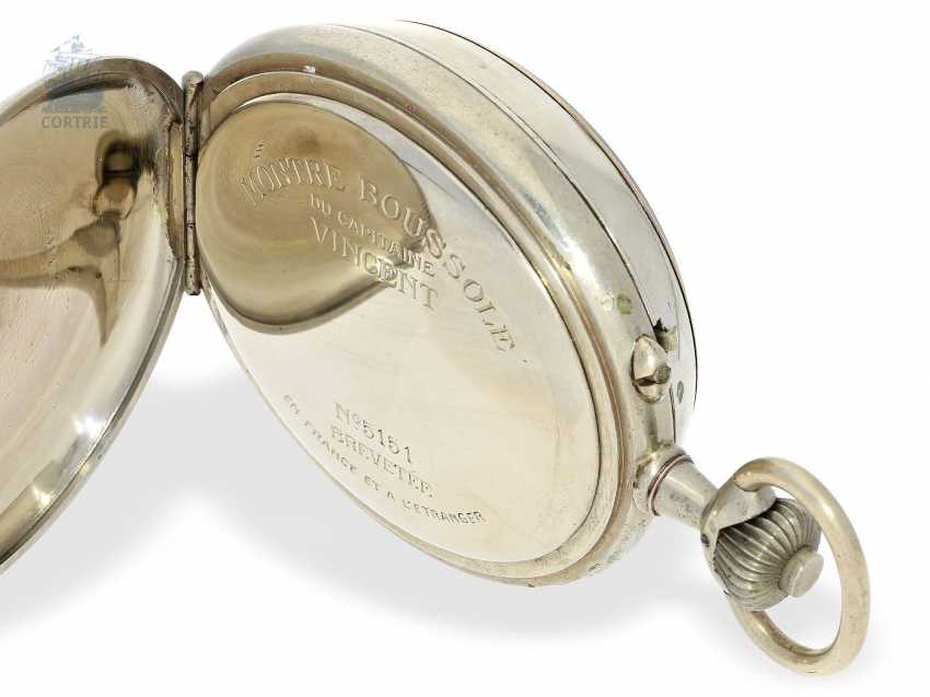 Pocket watch: extremely rare French Marine navigational clock, with a compass, Chronograph and Register, Montre Boussole du Capitaine Vincent No. 5151, around 1900 - photo 2