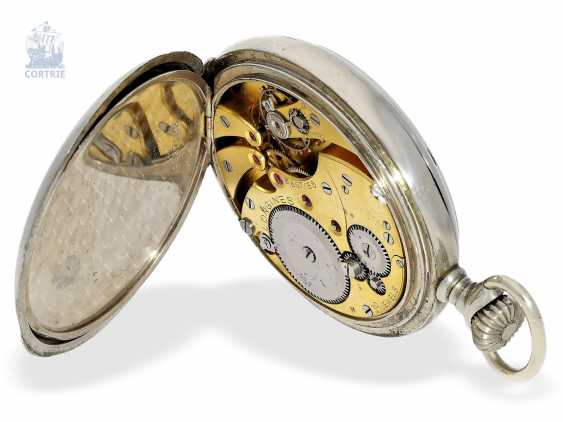 Pocket watch: extremely rare Longines caliber 19.41 8 day movement and a double signature, approx 1920 - photo 3
