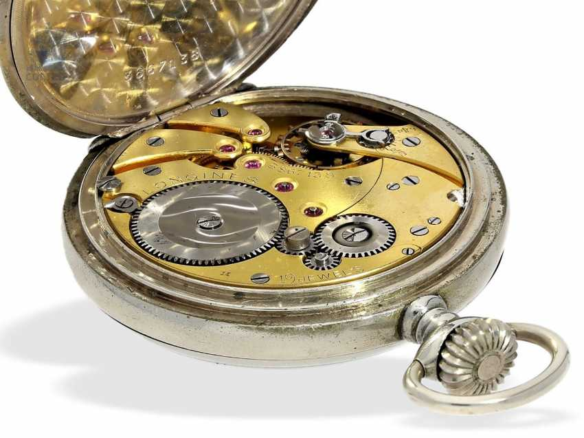 Pocket watch: extremely rare Longines caliber 19.41 8 day movement and a double signature, approx 1920 - photo 4