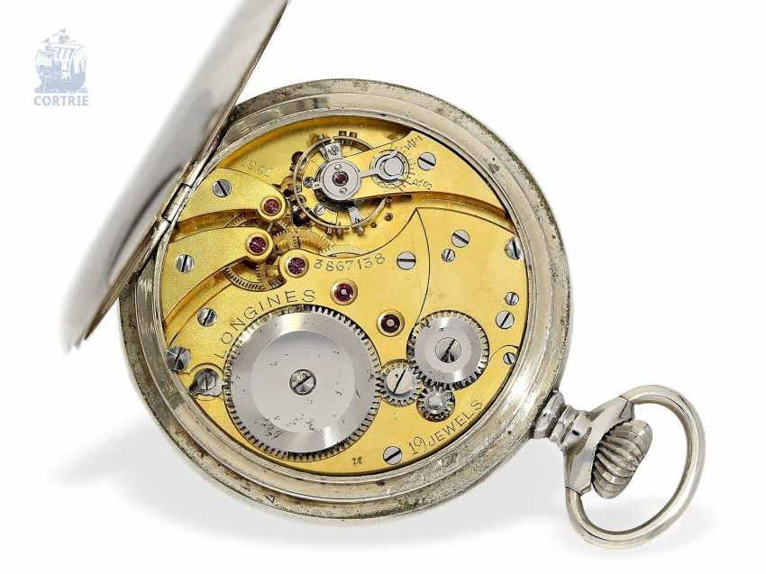 Pocket watch: extremely rare Longines caliber 19.41 8 day movement and a double signature, approx 1920 - photo 5