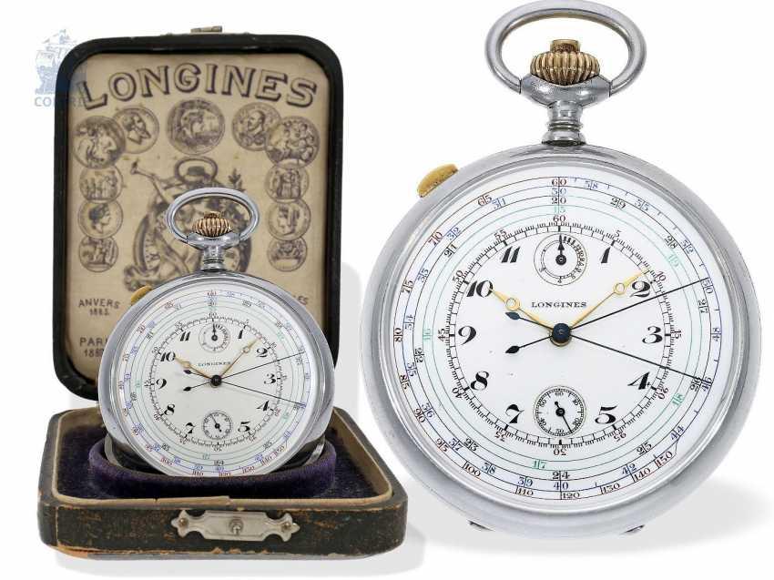 "Pocket watch: very rare Longines pointer-Chronraph ""Multicolour Dial"" and 30-minutes counter, Longines, CA. 1915, original box - photo 1"