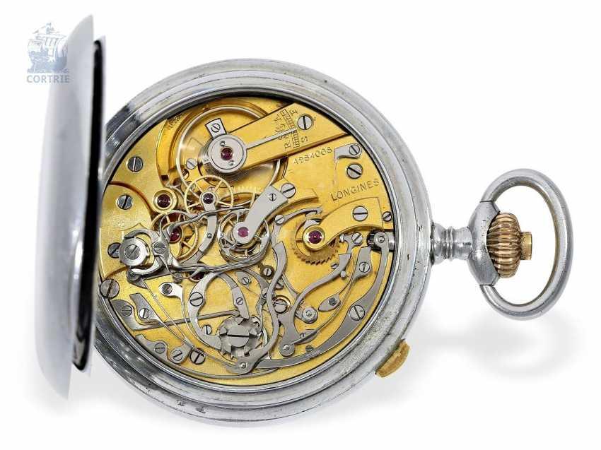 "Pocket watch: very rare Longines pointer-Chronraph ""Multicolour Dial"" and 30-minutes counter, Longines, CA. 1915, original box - photo 4"