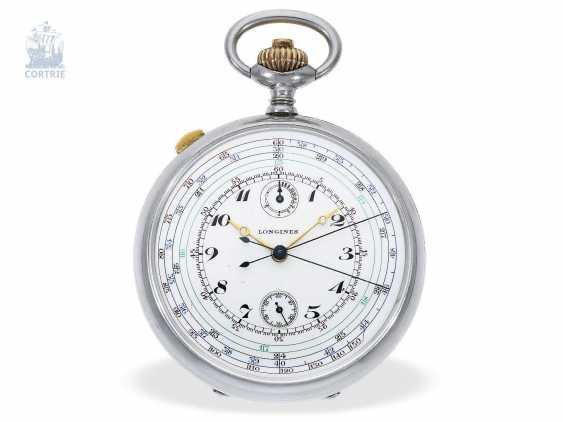"Pocket watch: very rare Longines pointer-Chronraph ""Multicolour Dial"" and 30-minutes counter, Longines, CA. 1915, original box - photo 5"