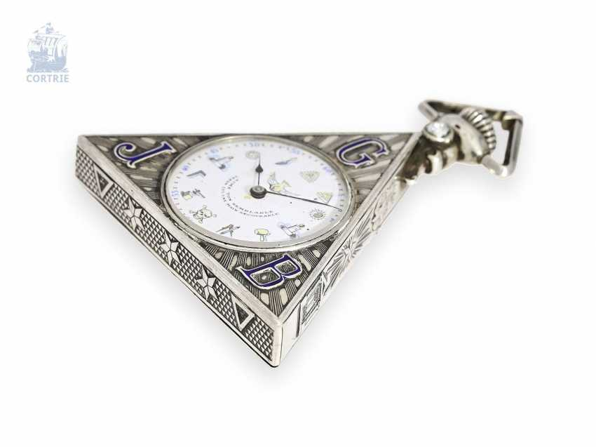 Pocket watch: rare Masonic pocket watch, Tempor Watch co., Switzerland around 1930, silver/enamel case of the Holy Frères - photo 2
