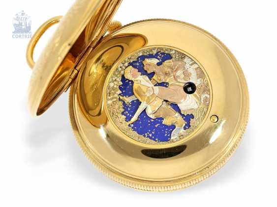 Pocket watch with Musical movement, alarm and concealed erotic automaton Romance, Fa. Reuge Swiss 20. Century - photo 1