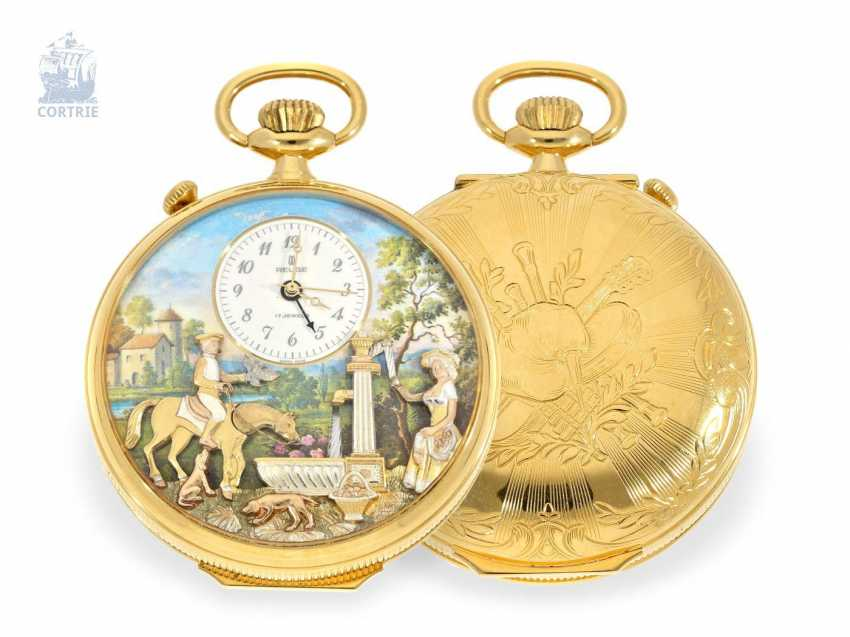 Pocket watch: fine Reuge music box automaton clock with Alarm and music work, Switzerland 20. Century - photo 1