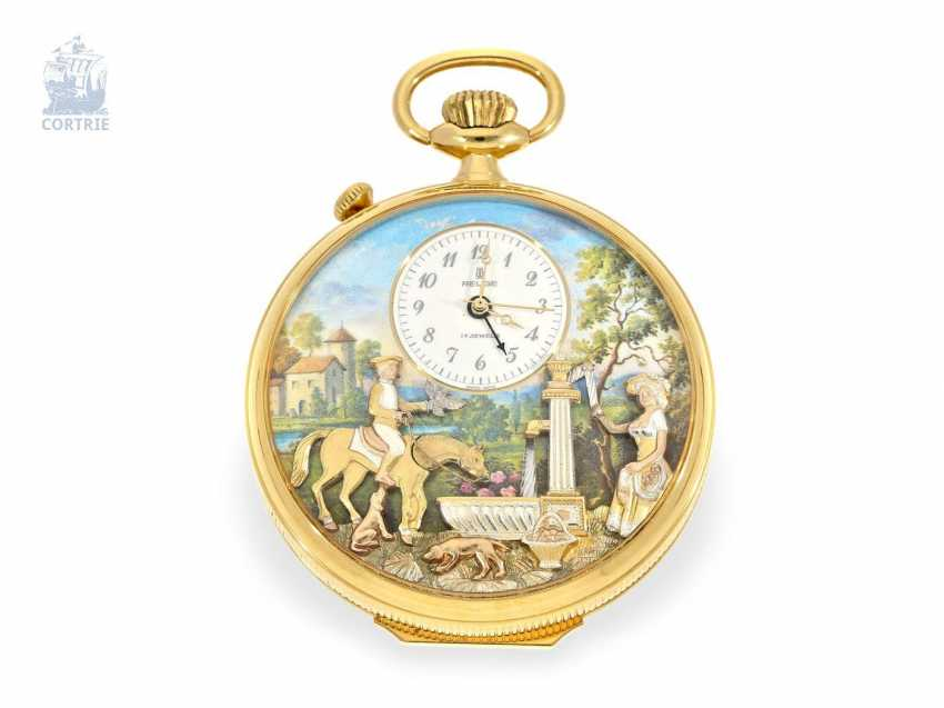 Pocket watch: fine Reuge music box automaton clock with Alarm and music work, Switzerland 20. Century - photo 3