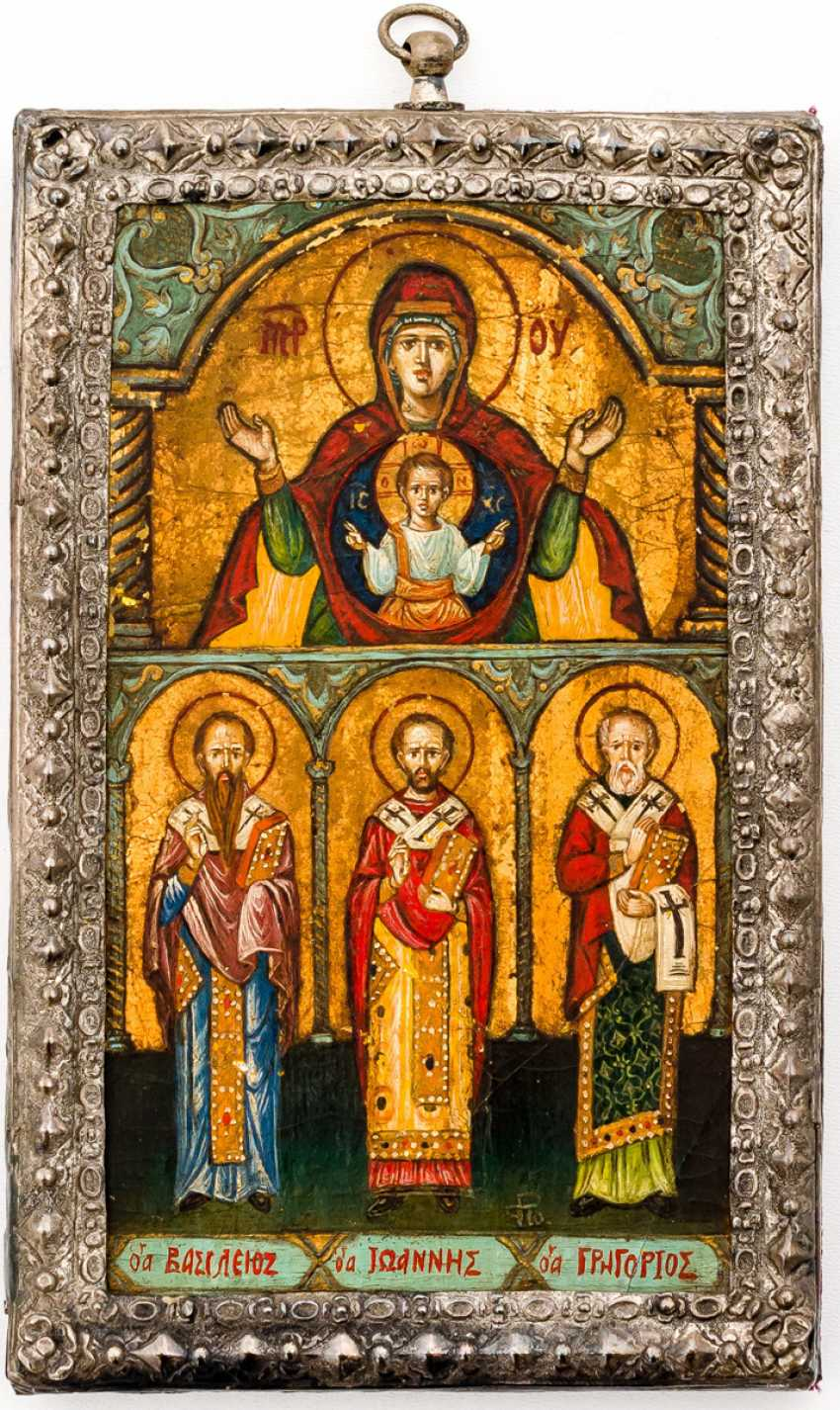 Mother of God of the sign with Hl. Basil, Gregory, John - photo 1