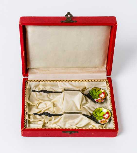 2 enameled silver spoon - photo 1