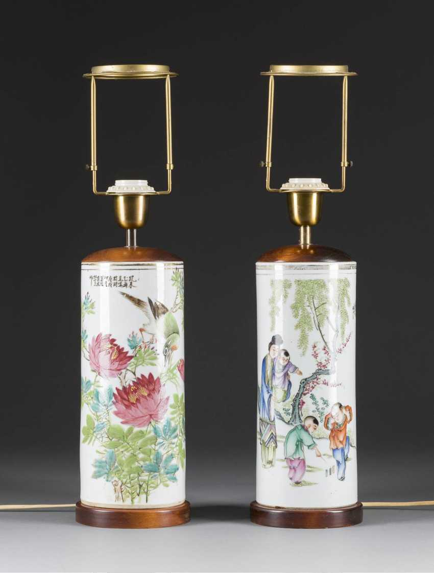PAIR OF CYLINDRICAL VASES - photo 1