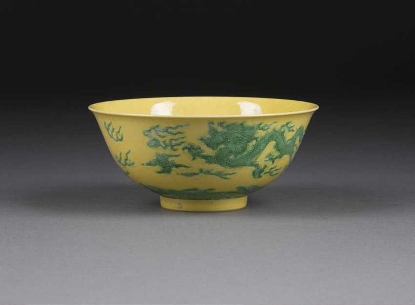 YELLOW BOWL WITH DRAGON AND CLOUD DECOR - photo 1