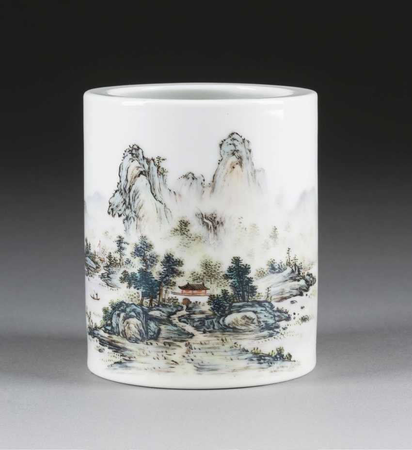 BRUSH CUPS WITH MOUNTAIN AND RIVER LANDSCAPE - photo 1