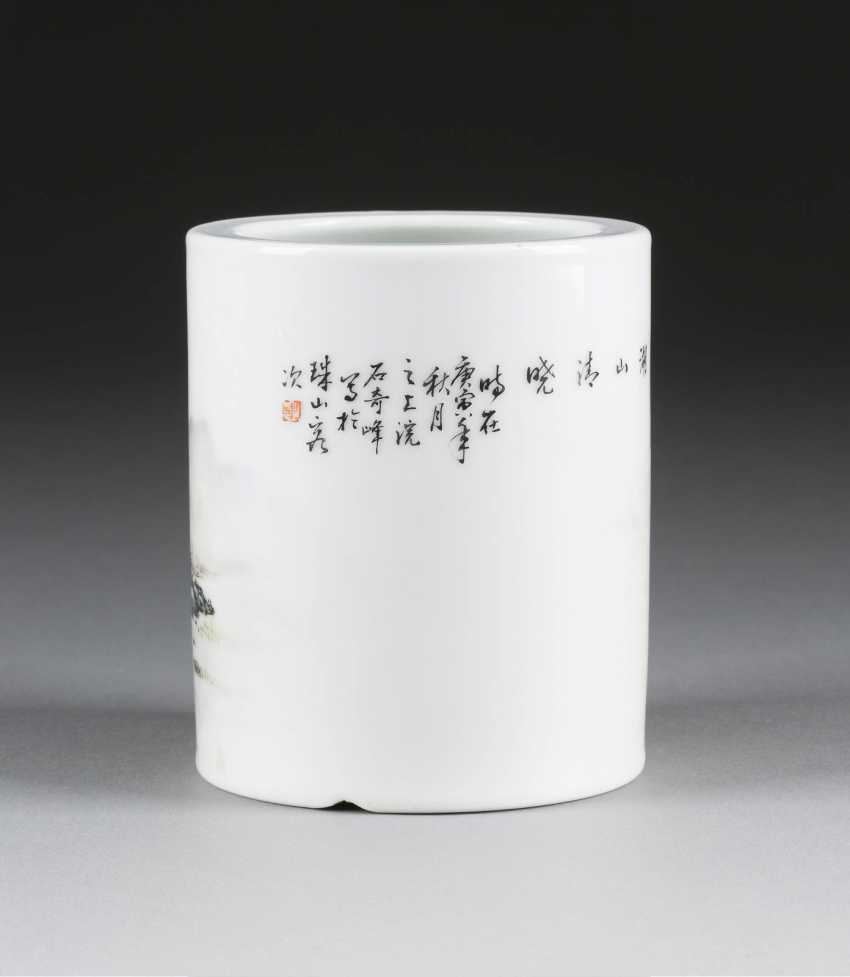BRUSH CUPS WITH MOUNTAIN AND RIVER LANDSCAPE - photo 2