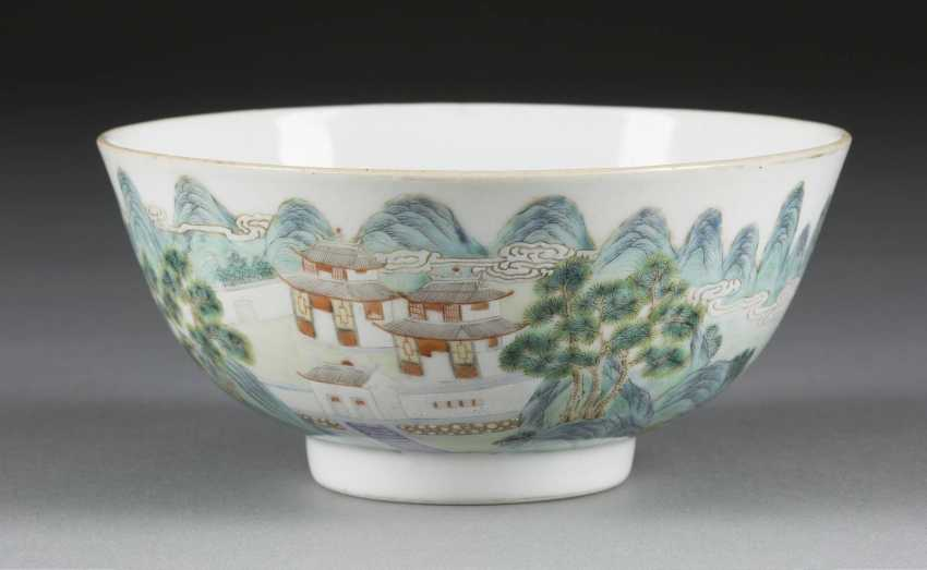 BOWL WITH MOUNTAIN LANDSCAPE AND CALLIGRAPHY - photo 1