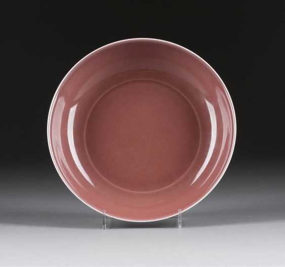 FLAT DISH WITH OX BLOOD RED GLAZE - photo 1
