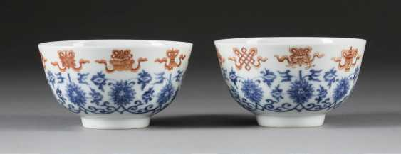 PAIR OF BOWLS WITH BUDDHIST SYMBOLS OF GOOD LUCK - photo 1