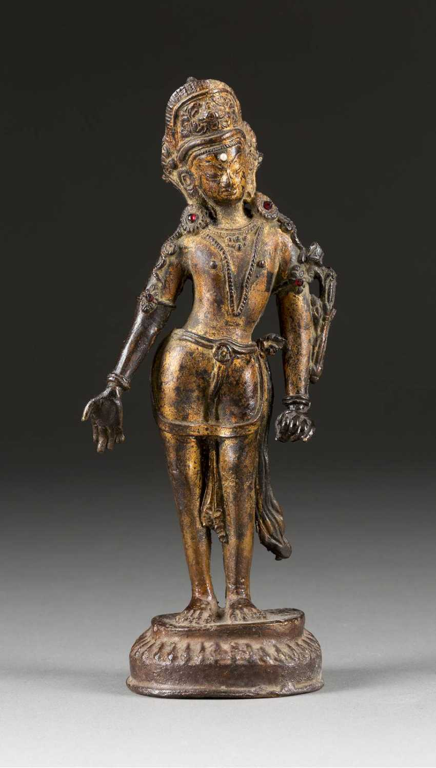 STANDING BUDDHA ON LOTUS PEDESTAL - photo 1