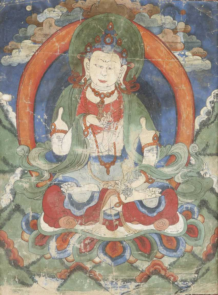 TWO THANGKAS OF THE BUDDHA DEPICTIONS - photo 1