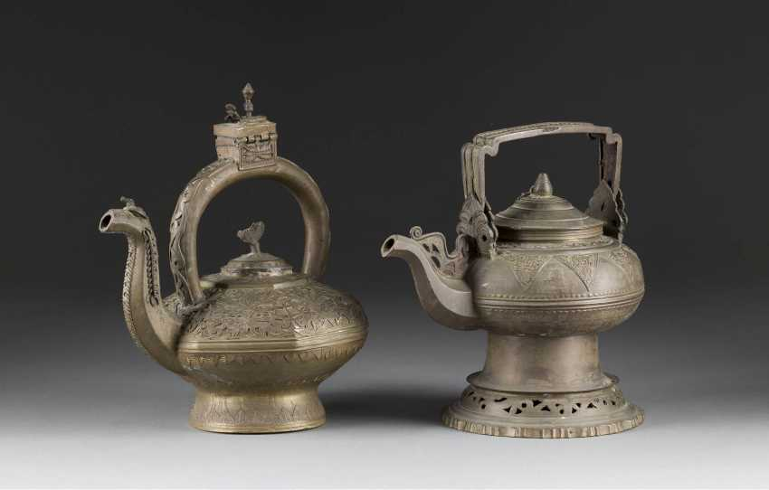 TWO TEAPOT WITH VEGETABLE TANNED DECOR - photo 1