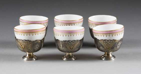 SIX SMALL TEA CUPS AND SIX TEA CUP HOLDERS - photo 1