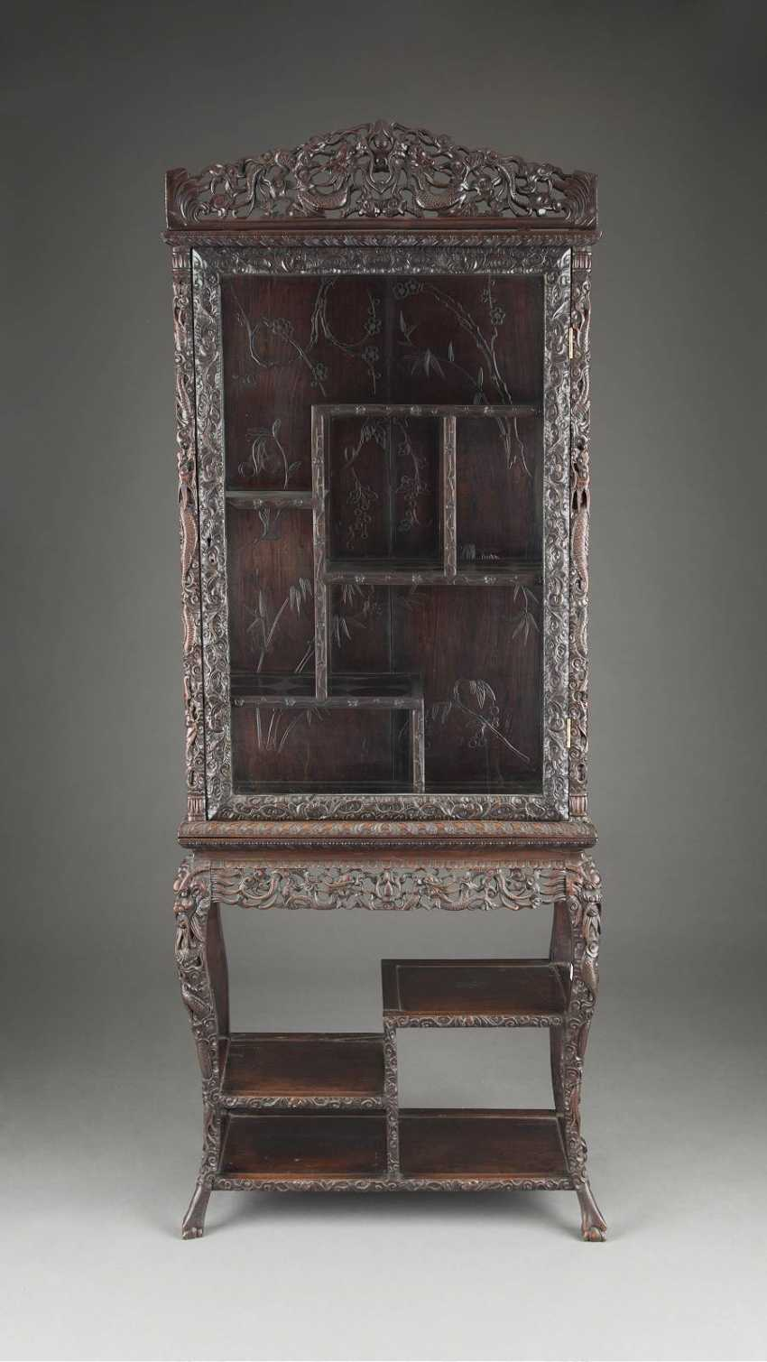 TOP DISPLAY CABINET WITH DRAGON DECORATION IN RELIEF - photo 1