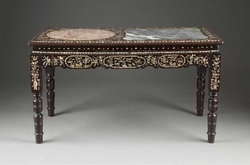 TABLE WITH MOTHER-OF-PEARL INLAID - photo 1
