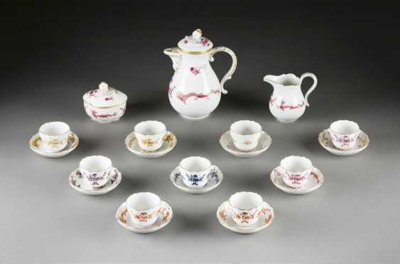 11-PIECE mocha service 'HOFDRACHE COLORFUL' German, Meissen, 20. Century and earlier - photo 1