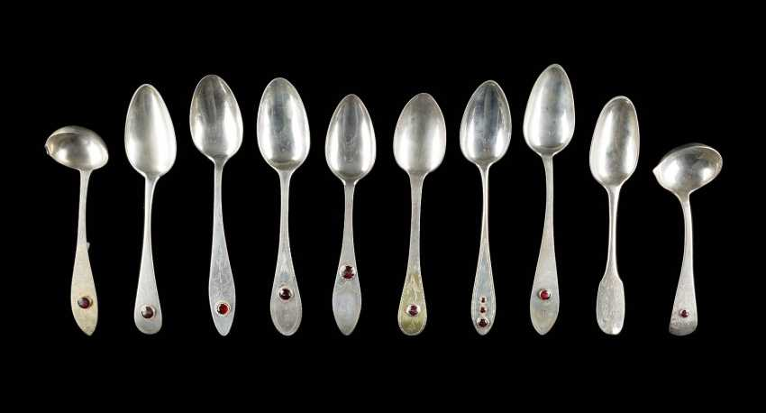 COLLECTION OF EIGHT SPOONS AND TWO LADLES - photo 1