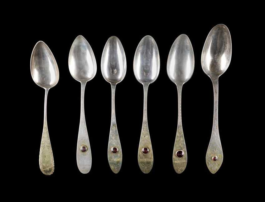 COLLECTION OF SIX BIEDERMEIER SPOONS DINING - photo 1