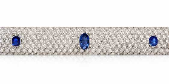 Art Deco Ceylon-Sapphire-Brillant-Bracelet