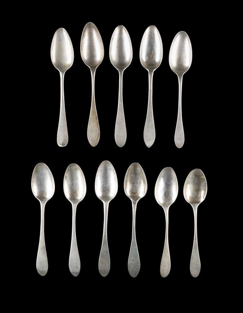 COLLECTION OF ELEVEN OF THE NORTH GERMAN BIEDERMEIER DINING SPOONS - photo 1