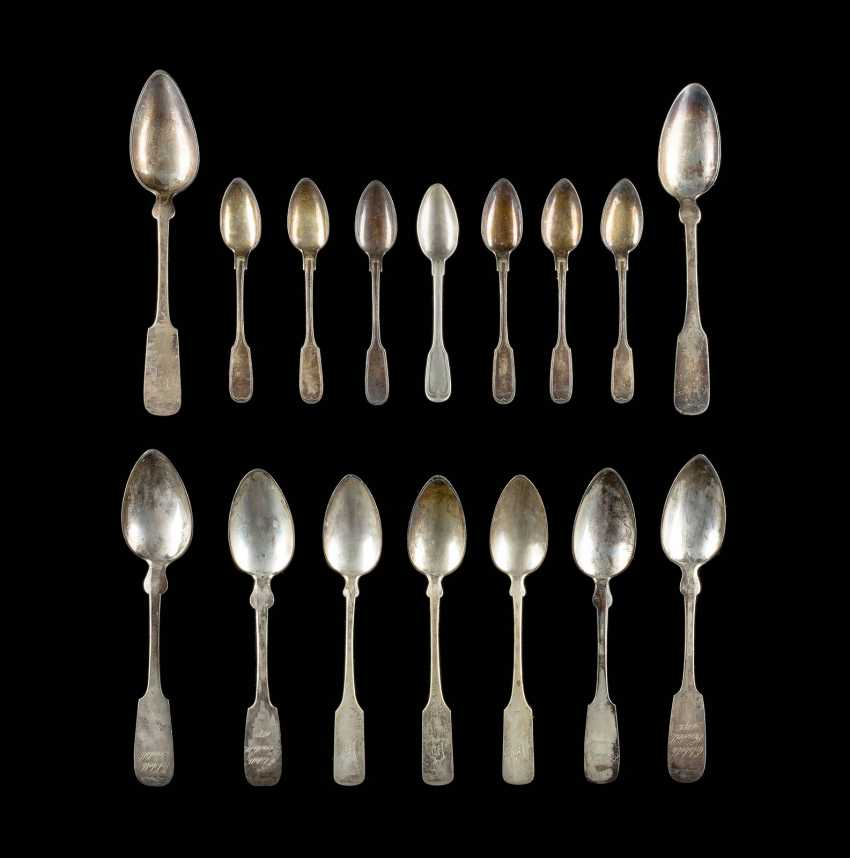 COLLECTION OF SIXTEEN SPOONS - photo 1