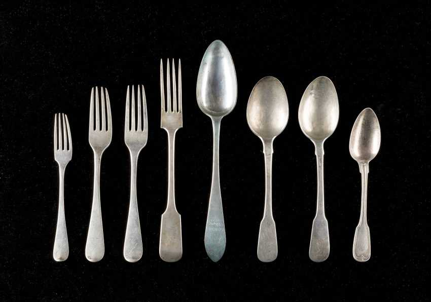 FOUR MEDIUM GERMAN FORKS AND FOUR SPOONS - photo 1