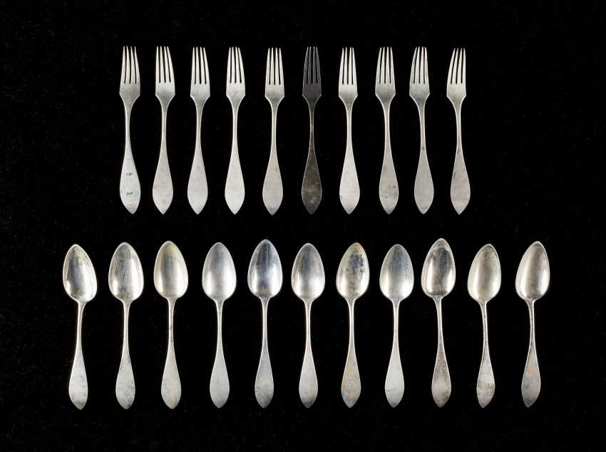 ELEVEN SPOONS AND TEN FORKS - photo 1