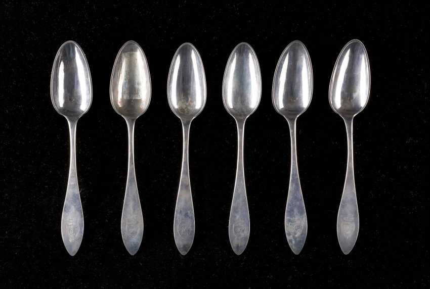 SET OF SIX DRESDEN DINING SPOONS - photo 1