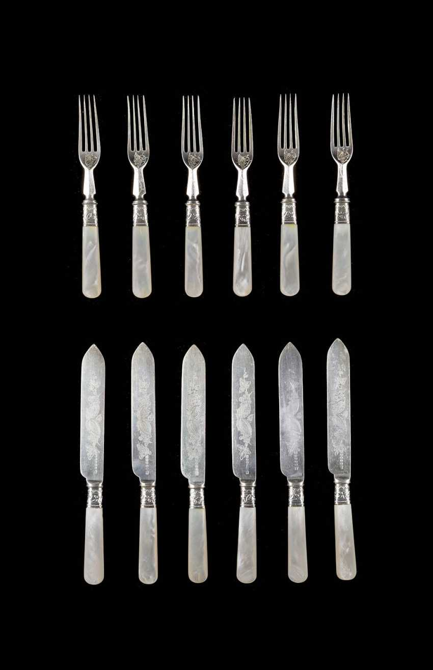SET OF SIX FORKS AND SIX KNIVES WITH MOTHER OF PEARL HANDLES - photo 1